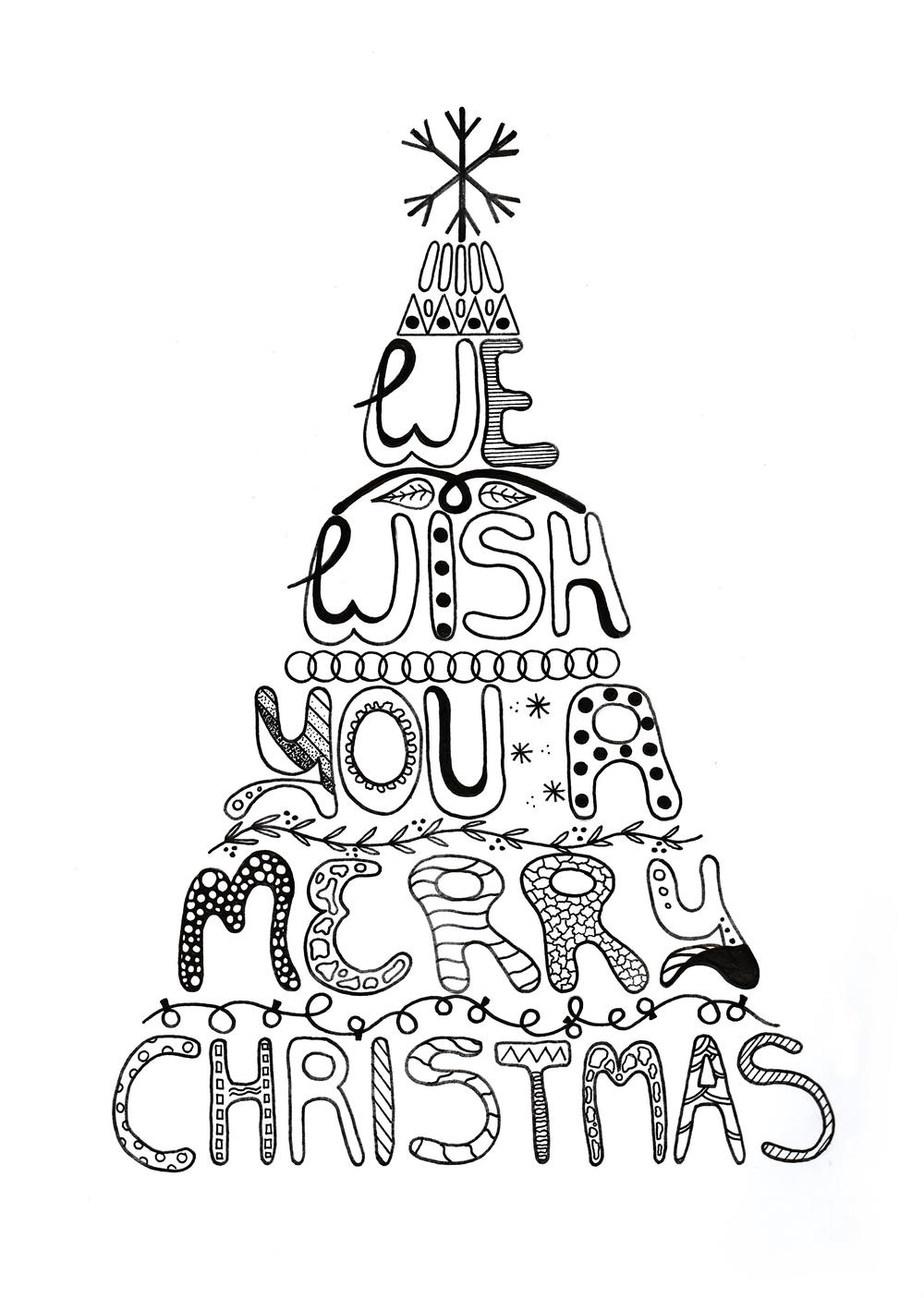 Merry Christmas Adult Coloring Page   AllFreePaperCrafts.com   christmas coloring pages for adults