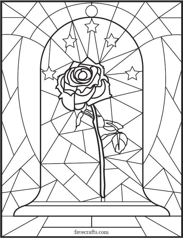 Stained Glass Rose Coloring Page Favecrafts Com