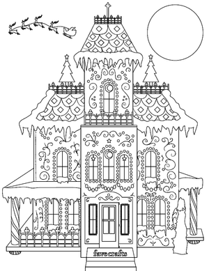 Breathtaking Gingerbread House Coloring Page Pdf Favecrafts Com