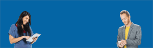 employee on a blue background