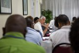 Simon Mason (IRI) speaks at the 2015 Wet Season CariCOF. Photo: Elisabeth Gawthrop/IRI, St. Lucia, June 2015.