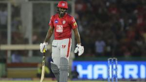 Chris Gayle left stranded one short of another blistering century for the Kings Eleven Punjab