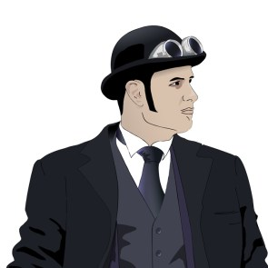 Steampunk young man on white vector detailed illustration