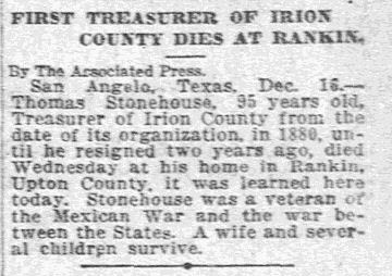 First Treasurer of Irion County Dies at Rankin Friday, December 17, 1920