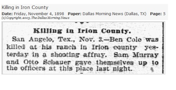 Killing in Irion County - Ben Cole