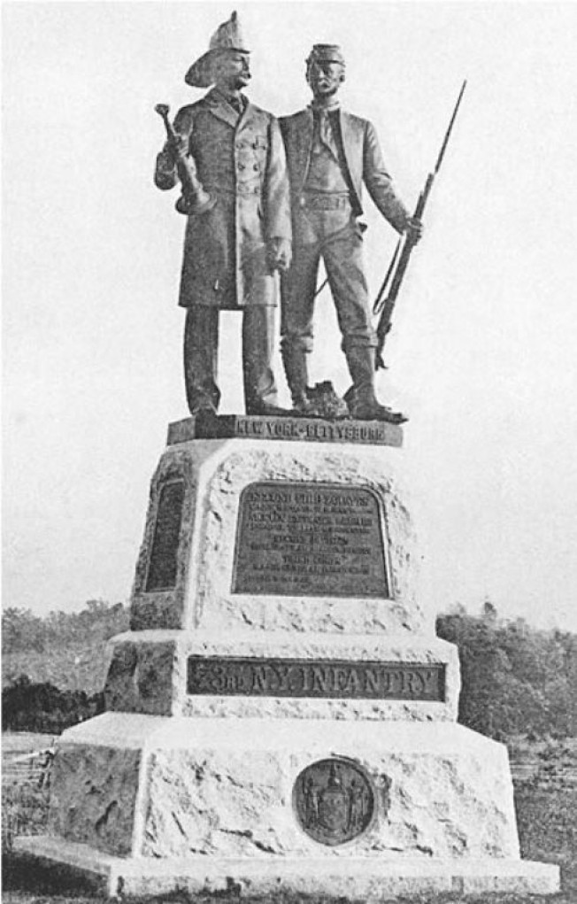 Monument of the 73rd New York Infantry at Gettysburg, erected in 1897 and depicting a Union infantryman and a fireman side by side (Final Report on the Battlefield of Gettysburg)