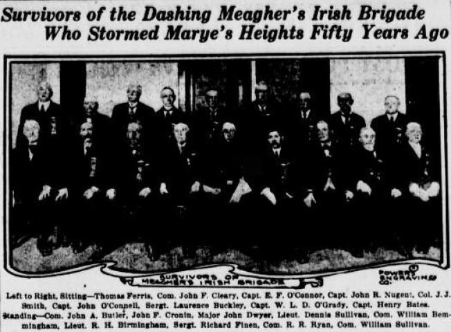 Evening World Image of the 33 Irish Brigade Survivors in 1912