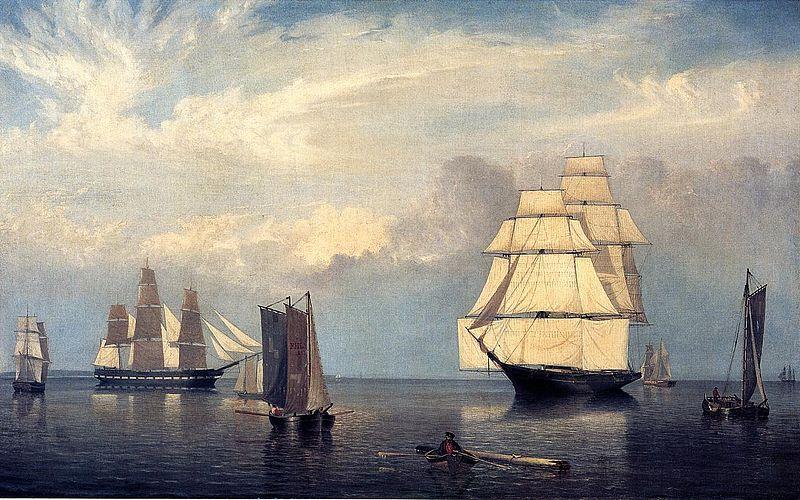 Salem Harbor in 1853, where John was a mariner before the war (Boston Museum of Fine Arts via Wikipedia)