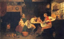 """""""Answering the Emigrant's Letter"""", an 1850 painting by James Collinson, depicting an English family replying to correspondence from Australia (Manchester Art Gallery)"""
