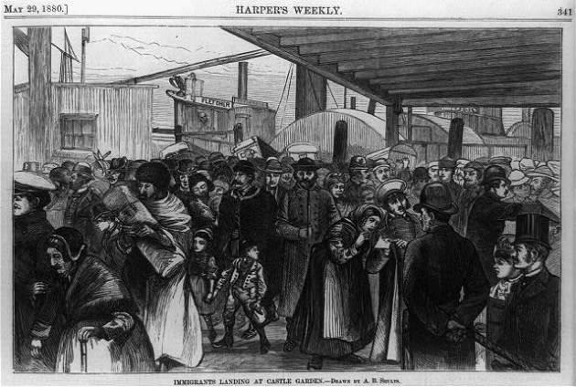 Immigrants arriving at Castle Garden, 1880 Harpers Weekly