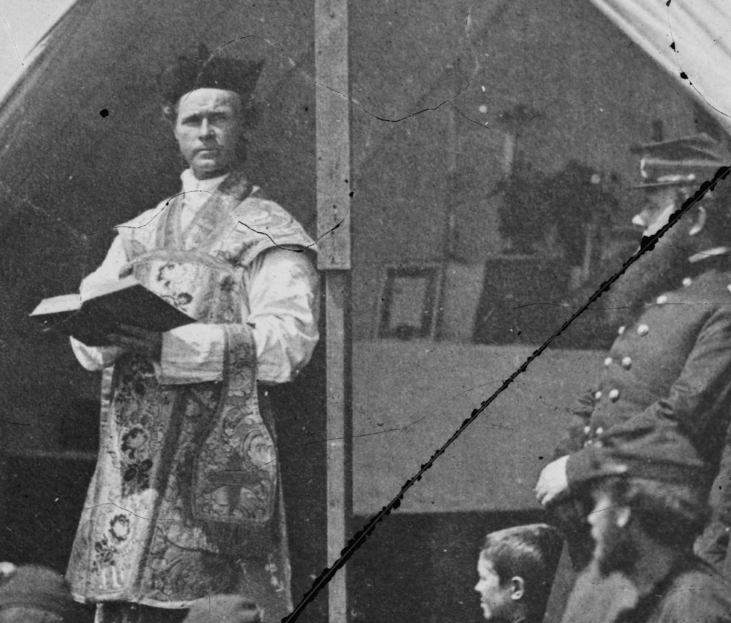 A detail of Father Thomas Mooney, Chaplain of the 69th New York State Militia in his vestments. Father Mooney would get into hot-water during the militia's time at Fort Corcoran for blessing an artillery piece, an action that led to his recall.