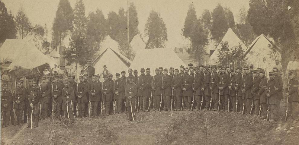 Connecticut infantrymen photographed in 1861 (Library of Congress)