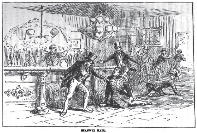 "The killing of Bill ""The Butcher"" Poole as the Stanwix Hall. (via Murder by Gaslight)"
