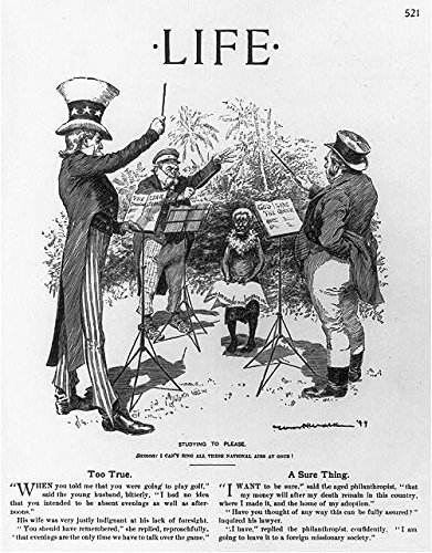 """""""Studying to Please"""" from Life magazine, 1899. It depicts Uncle Sam, John Bull, and Bismarck trying to teach a Samoan their respective national anthems (Library of Congress)"""