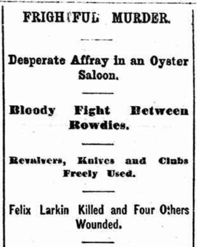 """""""Frightful Murder."""" Headline from the front page of the New York Evening Telegram, 25 Nov. 1868."""