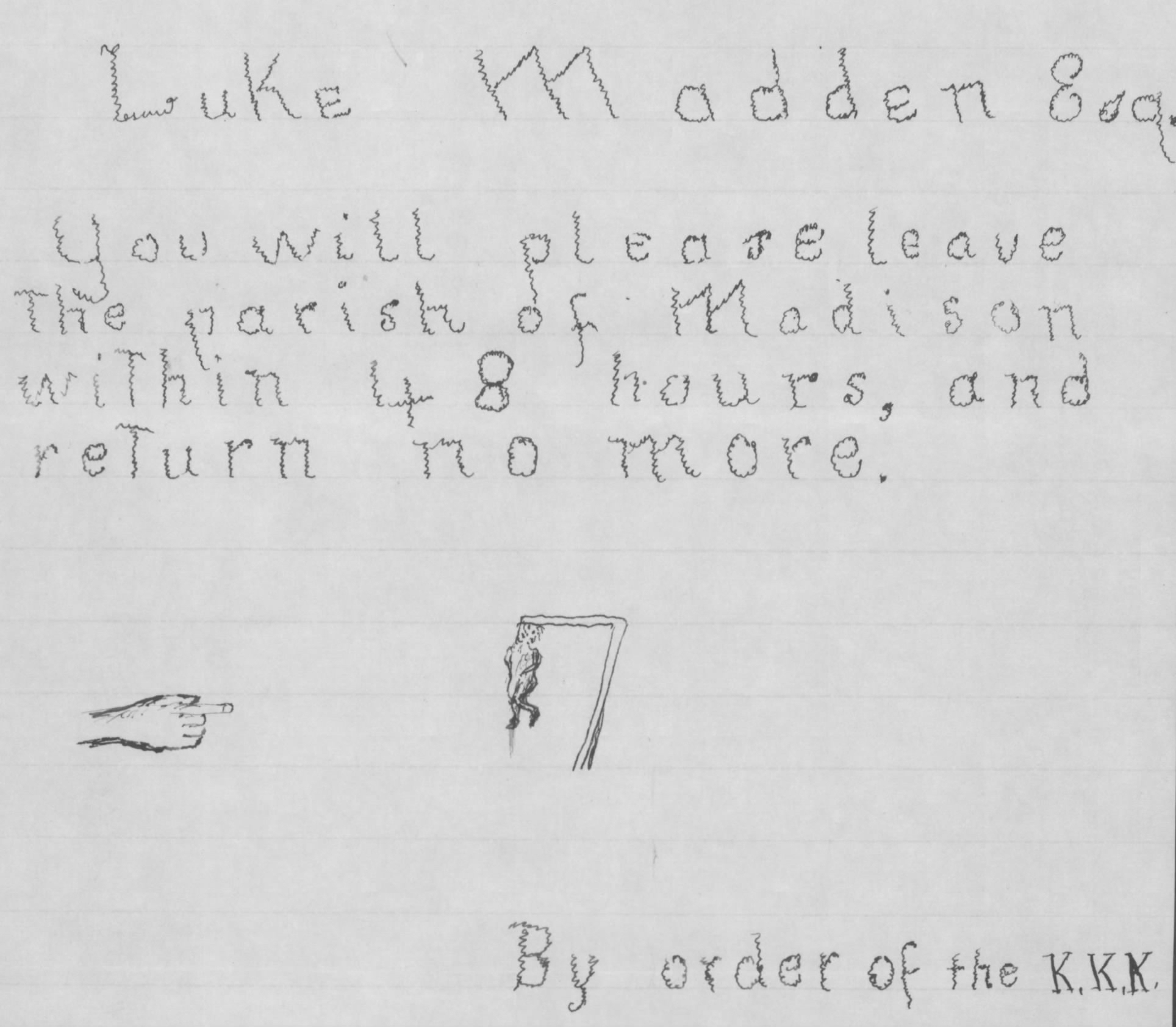 Luke Madden KKK Warning