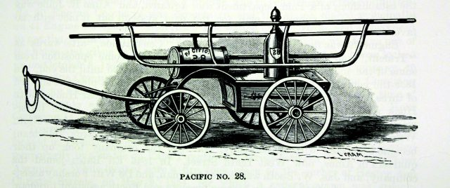 """New York Engine No.28 """"Pacific"""". Affiliation to specific fire companies was something Irishmen in New York had tattooed on their bodies (Our Firemen)"""