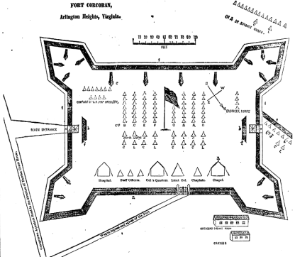A drawing of Fort Corcoran, the fortification constructed by the 69th New York State Militia at Arlington Heights, Virginia in 1861. This was printed on 13th July 1861, to give readers an idea of the layout of the Irishmen's fortification (New York Irish American)