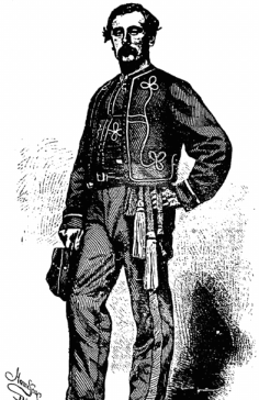 Captain Thomas Francis Meagher in his 69th New York State Miltia uniform (his Company K wore zouave style dress). This was printed on 17th August 1861, when the former Young Irelander was beginning the formation of the Irish Brigade of which he would become Brigadier-General (New York Irish American)
