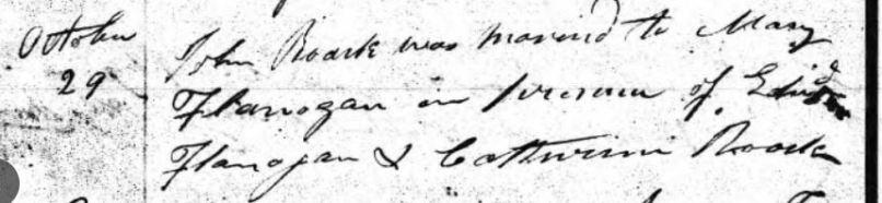 Roark-Flanagan marriage record