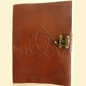 Trinity Knot Leather-Bound Parchment Journal - Brown - $28.00