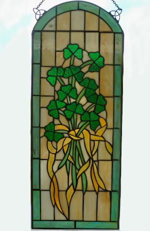 The Irish Stained Glass Shamrock Arch Window - $165.00