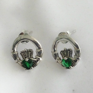 Go Green! Sterling Silver Claddagh Stud Earrings -$24.00