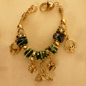 Best Seller! Brass & Murano Glass Irish Charm Bracelet $28.75