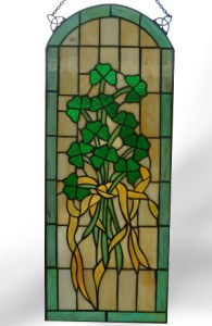 Gorgeous! The Irish Stained Glass Shamrock Arch Window - $195.00