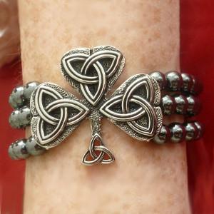 Flow of Life Hematite Shamrock & Trinity Knot Stretch Bracelet - $23.00