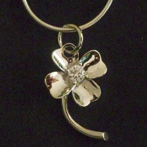 Sterling Silver Four-Leaf Clover Necklace with Gem Stone - $29.75