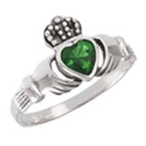 Sweet! Ladies Green Gemstone/Silver Claddagh Ring - $32.75
