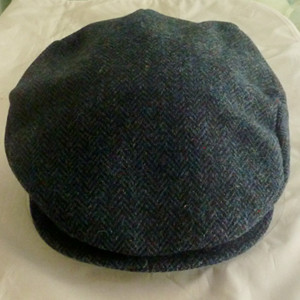 Donegal Tweed SMALL Blue Herringbone Cap by Hanna - $48.00