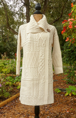 CarraigDonn Long Patchwork Coat, Natural, 100% Merino Wool - $145.00
