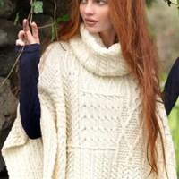 Aran Woollen Mills' Winter White Patchwork Cowl Cape $95.00