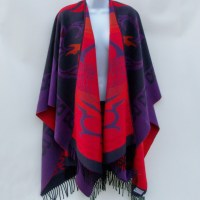 Molina Jimmy Hourihan Reversible Red and Purple Cape with Fringe $119.00