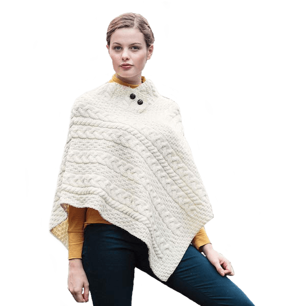 The Two-Button Winter White Poncho by Aran Woollen Mills $98.00