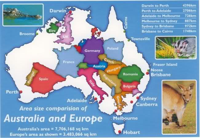 Comparrison between the size of Australia and Europe