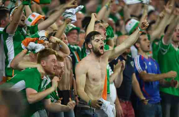 Irish supporters at the Ireland/France game