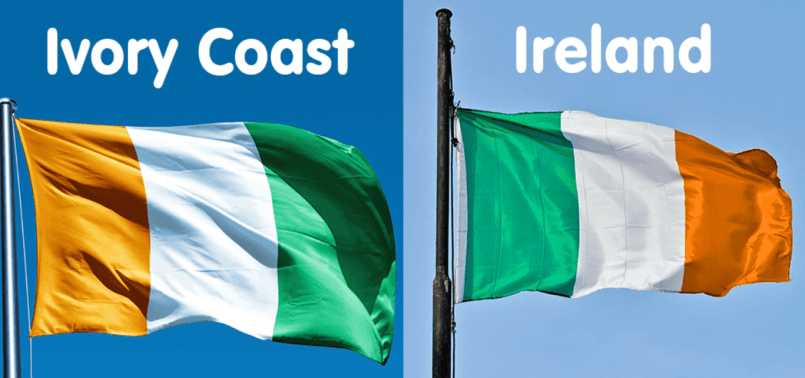 Ivory Coast vs The Republic of Ireland flag.