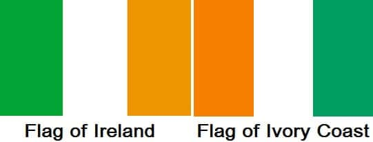 flag of Ireland versus the flag of the Ivory coast