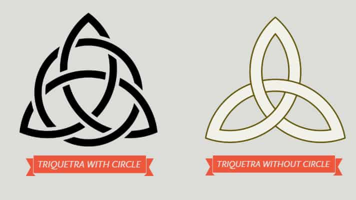 This is what a Triquetra looks like. On the left it has a circle and the right no circle.