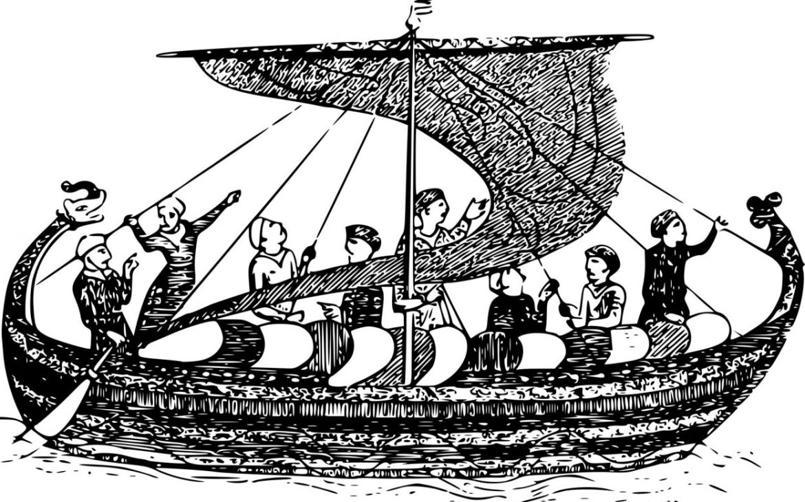 Anglo-Saxon invaders in longboat