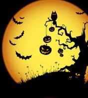 Un paysage d'Halloween en contre jour de lumière de lune