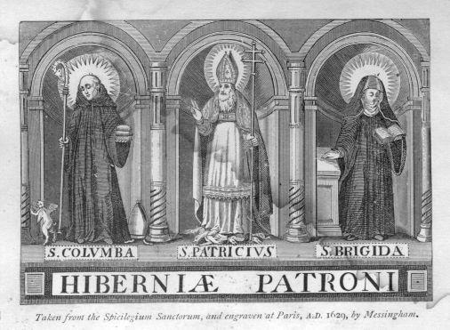Brigid, Gravure apparaissant dans le livre de Thomas Messingham paru à Paris en 1624 :Irish saints, Florilegium Insulæ Sanctorum.Sainte patronne d'Irlande: Les Trois Patrons d'Irlande