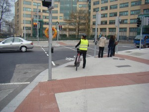 Cyclist on a footpath? No, it's a shared use footpath.