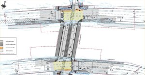 Planning drawing for the bridge which includes a contra-flow cycle lane
