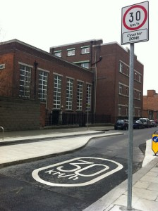 Traffic calming at the entrance to Dublin city centre's 30km/h zone