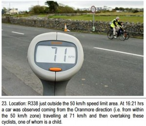 A motorist clocked at 70km/h when passing a child and adult cycling, both in high-vis. Photo by Cosain