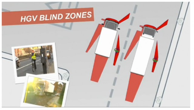 The red areas are known blind spots in trucks -- as the cabs of larger trucks turn the blind spots are enlarged.